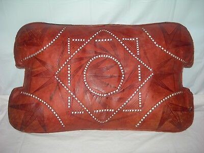 Vintage Egypt Camel Saddle Tooled Leather Cushion for Stool Bench-Rustic Pillow