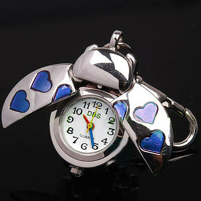 Beetle Blue Heart Key Ring Womens Watch Quartz Accessories Montres