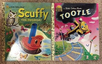 Scuffy the Tugboat and Tootle Golden Books 2 book lot