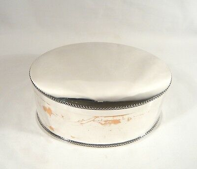 Antique OVAL Silver Plate TEA CADDY BOX 8 inch Tin Hinged fitted Lid CANISTER