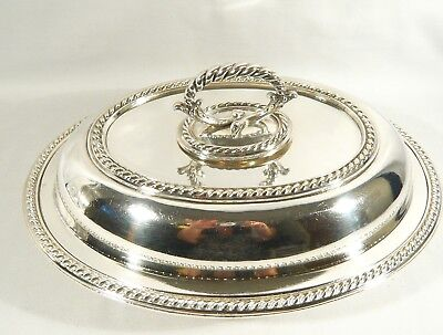 1892 ELKINGTON SILVER Plate Covered ENTREE Dish antique BOWL heavy Gadroon Edge