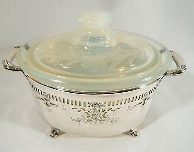 Vintage MERIDEN Silverplate Lidded Bowl SAUCE Dish Opalescent FRY OVEN GLASS