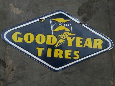 Porcelain Good Year Tires Sign 10 x 18 INCHES