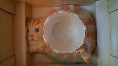 Ceramic Cat Mug & Saucer!! Nib - Coffee Cup - Attention All Cat Lovers!!