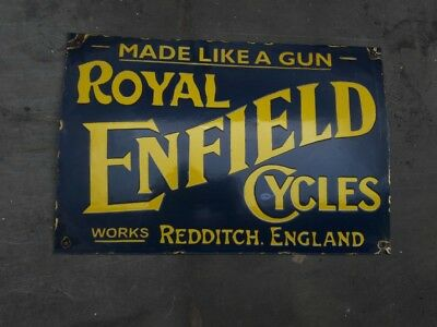 """Porcelain ROYAL ENFIELD Sign SIZE 18"""" X 12"""" INCHES"""