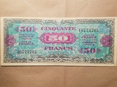 1944 France Allied Military Currency 50 Francs VERY NICE World War 2 Relic WWII