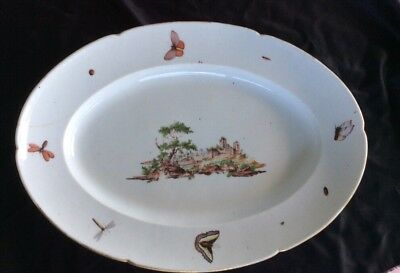 """Large Antique 18c White German Scenic & Bugs Platter 18"""" X 14"""" As Found"""