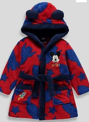 Boys Disney Mickey Mouse Bath Robe/Dressing Gown 12-18 months