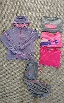 Under Armour Pink GIRLS 5 Pc Clothes Lot Size Youth XL SHIRTS/CAPRI/HOODIE