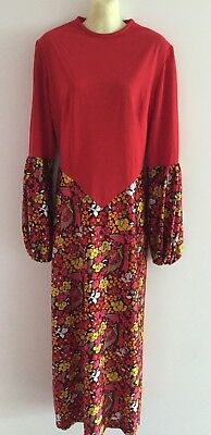 ORIGINAL 60's Hippy N.O.S VINTAGE NICOLE CREATIONS DRESS SIZE 16 RED & FLORAL