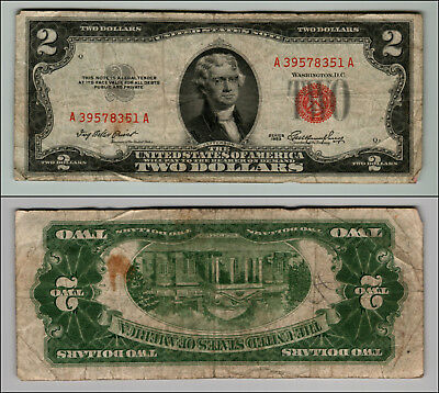 1953 $2 Dollar Bill Old Us Note Legal Tender Paper Money Currency Red Seal J414