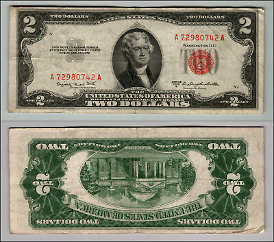 1953B $2 Dollar Bill  Us Note Legal Tender Paper Money Currency Red Seal P764