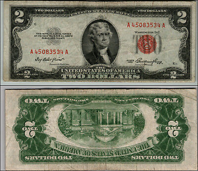 1953 $2 Dollar Bill Old Us Note Legal Tender Paper Money Currency Red Seal #j827