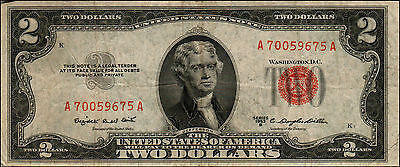 1953B $2 Dollar Bill Old Us Note Legal Tender Paper Money Currency Red Seal Q13