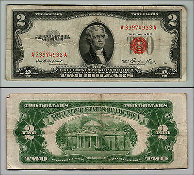 1953 $2 Dollar Bill Old Us Note Legal Tender Paper Money Currency Red Seal Q614
