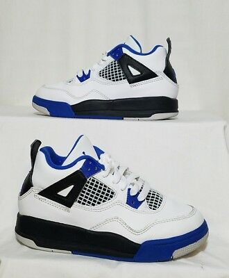 NIKE AIR JORDAN RETRO 4 Boys/Youth White Blue Black Shoes Size 11C