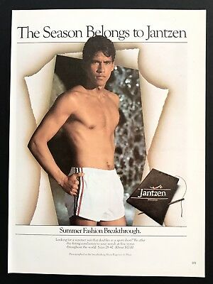 1981 Vintage Print Ad JANTZEN Men's Summer Fashion Shorts No Shirt Image