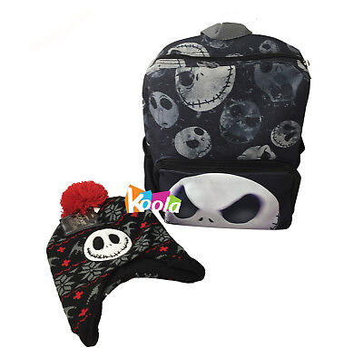 "Nightmare Before Christmas Jack 12"" Toddler Size Backpack w/ Beanie Hat Cap"