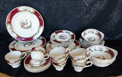 Vintage Royal Crown Myotts 41 pce Dinner Set - Chelsea Bird - Good Condition