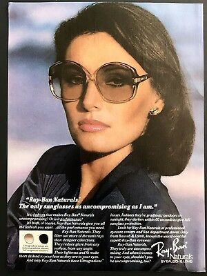 1981 Vintage Print Ad RAY BAN Bausch Lomb Woman's Sunglasses Fashion 80's Style