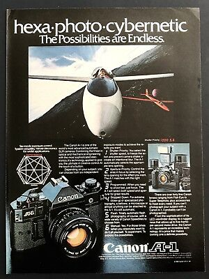 1981 Vintage Print Ad CANON A-1 Camera Equipment Space Image Aviation