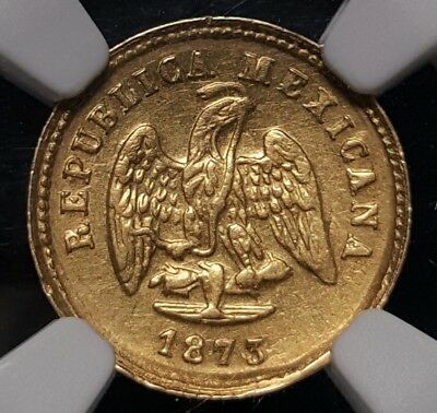 Mexico Republic Gold 1 Peso 1873 Cn P NGC AU58 KM410.2