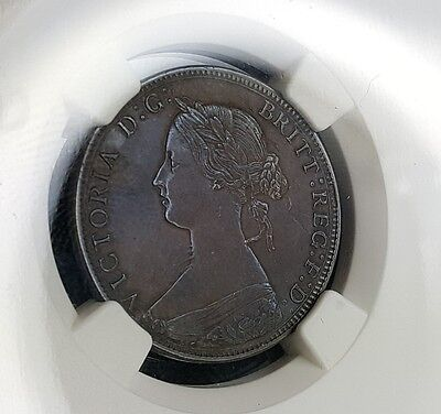 1871 Great Britain Half Penny 1/2 Penny Ngc Au 50 Brown Key Date Lt. Blue Color