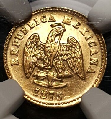 MEXICO GOLD 1873/1 Mo M Peso OVERDATE NGC MS62 Low Mintage-2,900 KM# 410.5