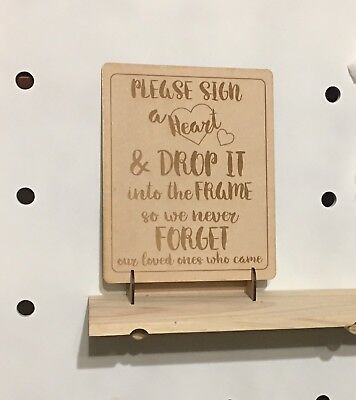 Engraved Sign for Wooden Wedding Heart Drop Box Guest Book (includes stand)