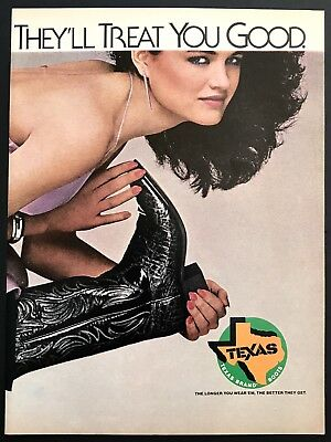 1981 Vintage Print Ad TEXAS BRAND BOOT Western Wear Cowboys Sexy Woman Image