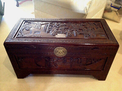 Camphor Blanket Box Chest ~ Carved Asian Oriental Mandarin Court Scene