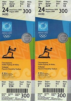 2 UNUSED ROW 1 ATHENS 2004 OLYMPIC GAMES TICKETS: VOLLEYBALL 24th AUGUST