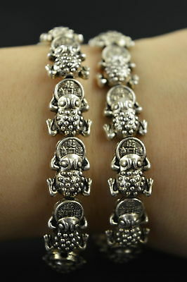 Decorated Wonderful Miao Silver Carve Lucky Wealth Pair Elastic Bracelet