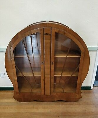 Walnut Art Deco  China/display Cabinet In Excellent Condition