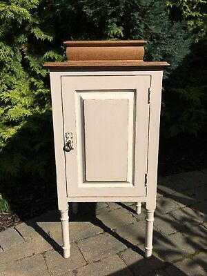Edwardian solid oak end table cupboard cabinet