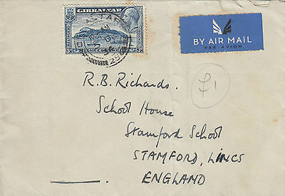 M 1787 Gibraltar 1934 airmail cover to UK; 3d rate