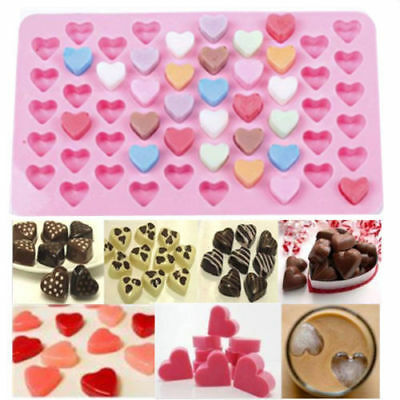 Silicone 55 Heart Ice Cube Tray Chocolate Cake Baking Mould Hearts