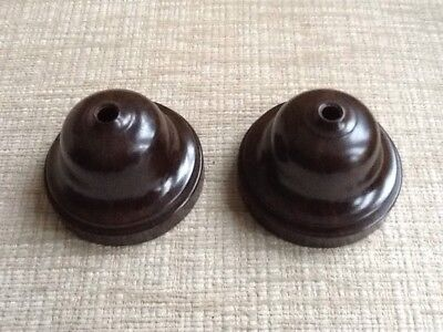 Pair of Genuine Bakelite 1940's, Twin Terminal Ceiling Roses. Unused.