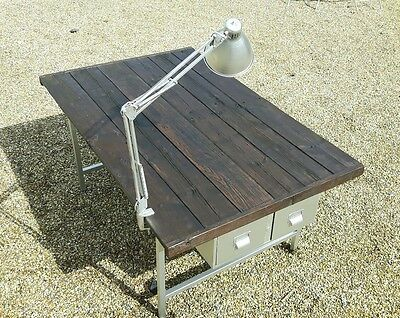 Vintage Industrial Workbench With Steel Drawers Table Desk Rustic