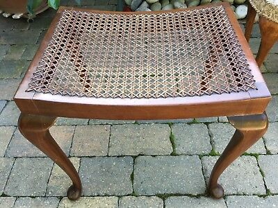 Vintage solid mahogany and rattan piano stool lovely piece