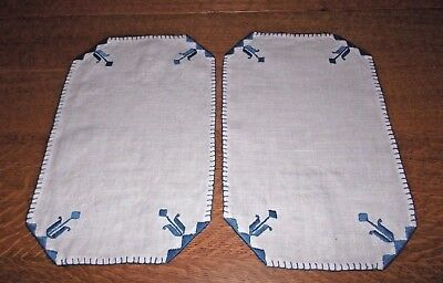2 Vintage Linen Hand Embroidered Blue Flowers Doilies Doily Pair