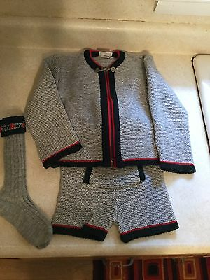 VINTAGE German Lederhosen Tyrolean Wool Child Sweater Shorts & Suspenders Socks