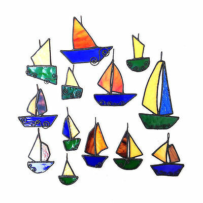 BOATS Stained Glass, Sun Catcher, Gift, Window Decoration, Art Glassware, UK