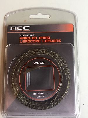 ACE Elements Hard-On Silt  Camo Leadcore Leaders Leadclip Rigs-90cm*New 3 Pack *