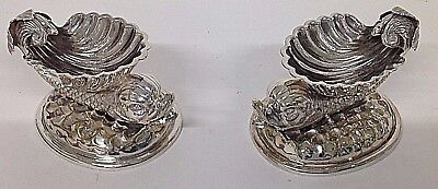 Stunning pair of Antique Silver Plated Salts in the form of Stylised Dolphins