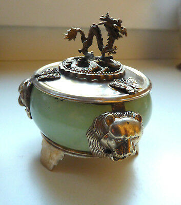 China Jade Box export solid silver? with dragon knob Lonic heads on the side