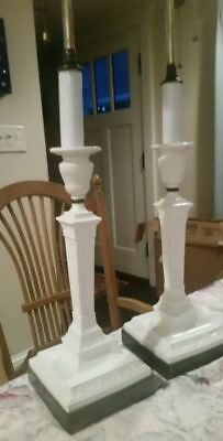 """Pair Antique Minton & Brass 19th Century Candle holder Lamps 2 light each 31"""""""
