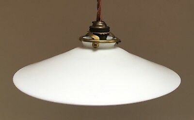Original French glass coolie shade ceiling light opaline white & brass gallery
