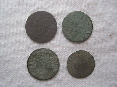 4 x 17th CENTURY TOKENS (UK metal detecting find)