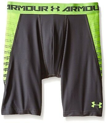(Small, Graphite/Fuel Green) - Under Armour Boys' HeatGear Armour Up Fitted